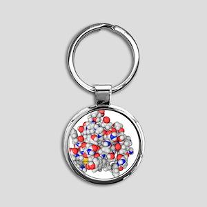 Insulin molecule Round Keychain