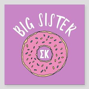 "Sigma Kappa Big Sister D Square Car Magnet 3"" x 3"""