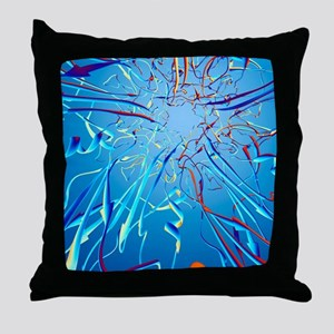 HPV L1 surface protein, ribbon model Throw Pillow