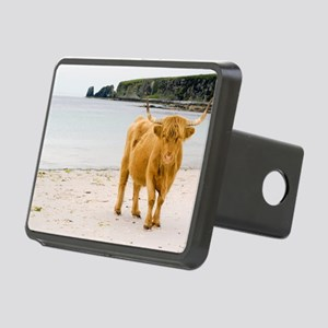 Highland cow on a beach Rectangular Hitch Cover