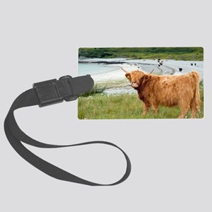 Highland cattle by the sea Large Luggage Tag