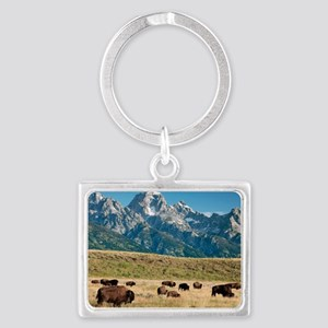 Herd of American Bison Landscape Keychain