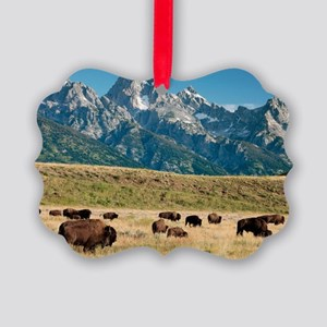 Herd of American Bison Picture Ornament