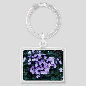 Hepatica transsilvanica flowers Landscape Keychain