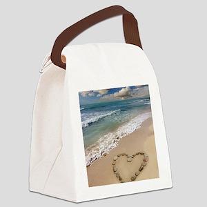 Heart-shape on a beach Canvas Lunch Bag