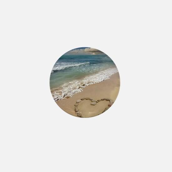 Heart-shape on a beach Mini Button