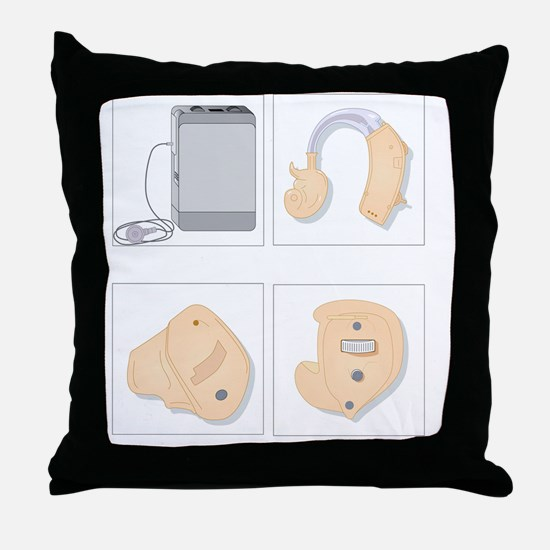 Hearing aids, artwork Throw Pillow