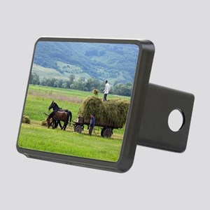Harvesting using horses an Rectangular Hitch Cover