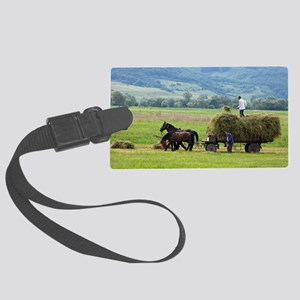 Harvesting using horses and cart Large Luggage Tag