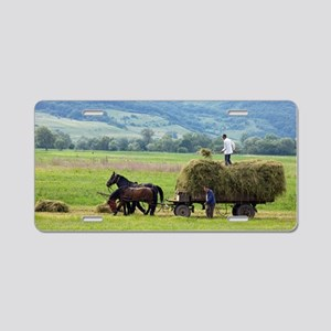 Harvesting using horses and Aluminum License Plate