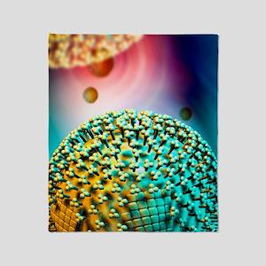 H1N1 flu virus particle, artwork Throw Blanket