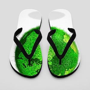Green planet, conceptual artwork Flip Flops