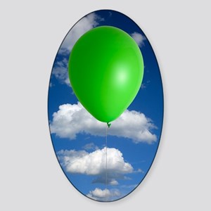 Green balloon and climate change Sticker (Oval)