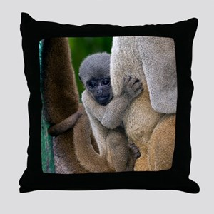Gray woolly monkey baby Throw Pillow