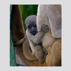 Gray woolly monkey baby Throw Blanket