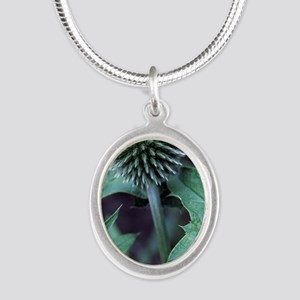 Globe thistle 'Veitch's Blue' Silver Oval Necklace