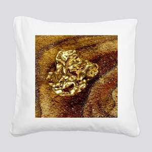Gold nugget Square Canvas Pillow