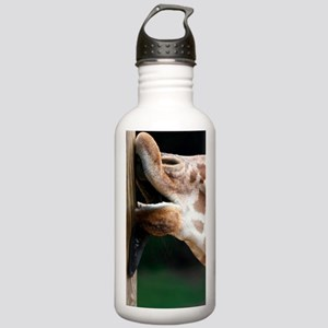 Giraffe licking a pole Stainless Water Bottle 1.0L