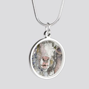 Shorn This Way, Sheep Silver Round Necklace