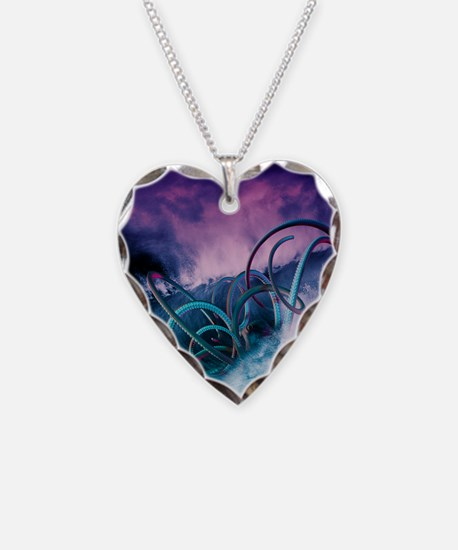 Giant octopus, artwork Necklace Heart Charm