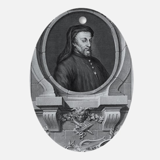 Geoffrey Chaucer, English author and Oval Ornament