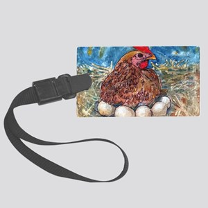 Family Nest, Chicken with eggs Large Luggage Tag
