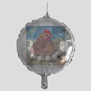 Family Nest, Chicken with eggs Mylar Balloon