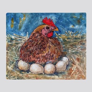 Family Nest, Chicken with eggs Throw Blanket