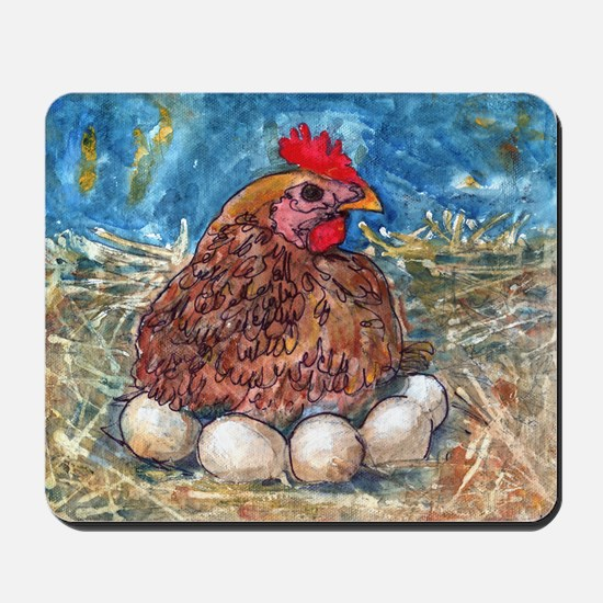Family Nest, Chicken with eggs Mousepad