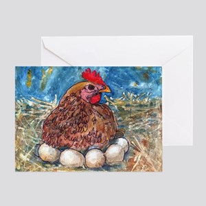 Family Nest, Chicken with eggs Greeting Card