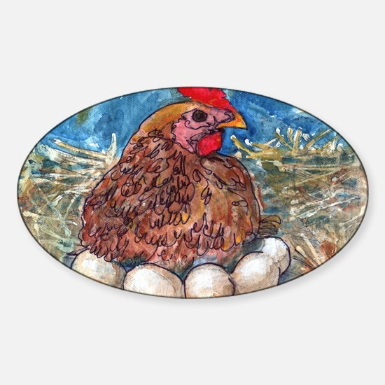 Family Nest, Chicken with eggs Sticker (Oval)