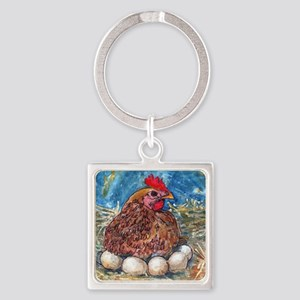 Family Nest, Chicken with eggs Square Keychain