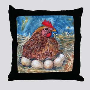 Family Nest, Chicken with eggs Throw Pillow