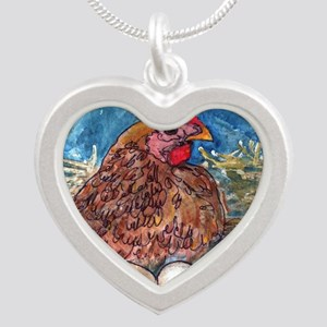 Family Nest, Chicken with eg Silver Heart Necklace