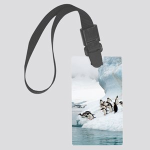 Gentoo penguins jumping into the Large Luggage Tag