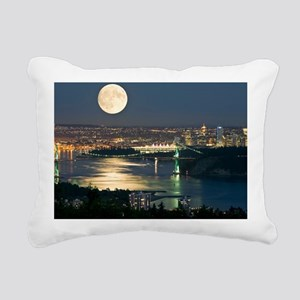 Full Moon over Vancouver Rectangular Canvas Pillow