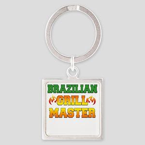 Brazilian Grill Master Dark Apron Square Keychain