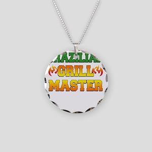 Brazilian Grill Master Dark  Necklace Circle Charm