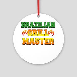 Brazilian Grill Master Dark Apron Round Ornament