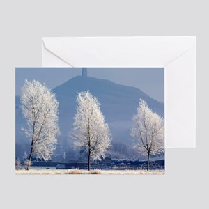 Frost-covered trees and Glastonbury  Greeting Card