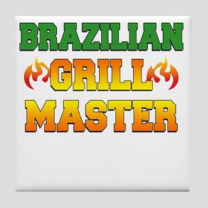 Brazilian Grill Master Dark Apron Tile Coaster