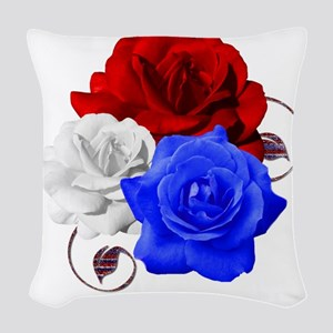 Patriotic Flowers Woven Throw Pillow
