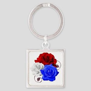 Patriotic Flowers Square Keychain