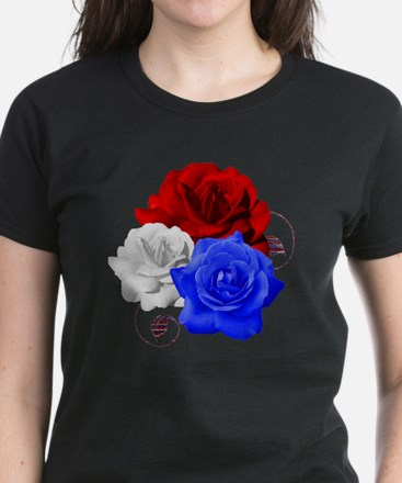 Patriotic Flowers Women's Dark T-Shirt