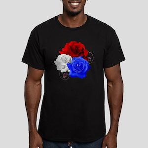 Patriotic Flowers Men's Fitted T-Shirt (dark)