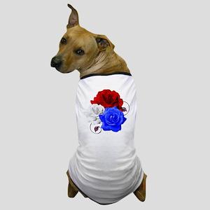 Patriotic Flowers Dog T-Shirt