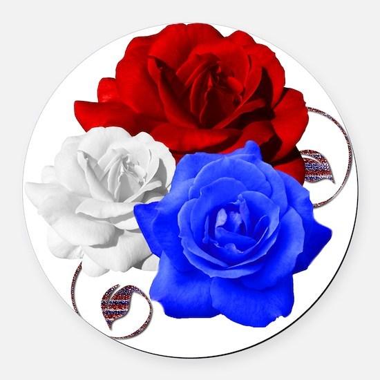 Patriotic Flowers Round Car Magnet