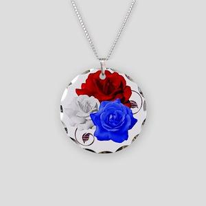 Patriotic Flowers Necklace Circle Charm
