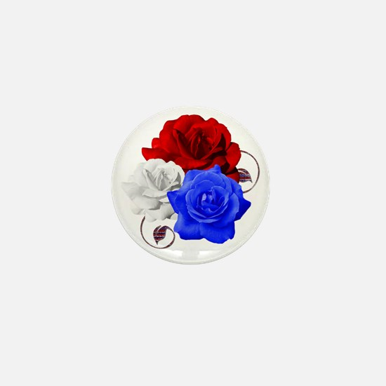 Patriotic Flowers Mini Button