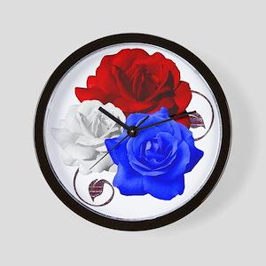 Patriotic Flowers Wall Clock